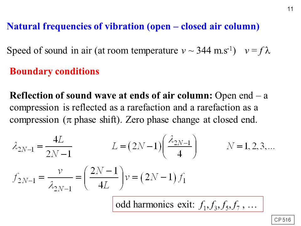 11 Boundary conditions Reflection of sound wave at ends of air column: Open end – a compression is reflected as a rarefaction and a rarefaction as a c