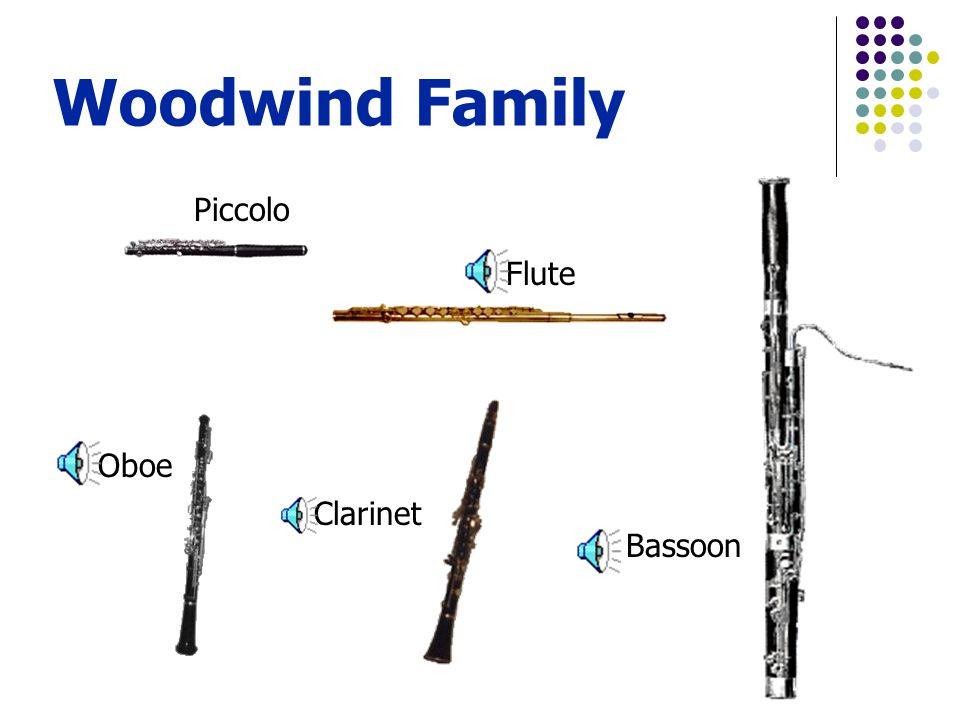 Woodwind Family Piccolo Flute Bassoon Clarinet Oboe