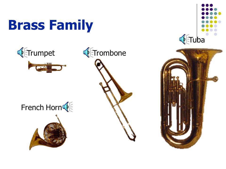 Brass Family Trumpet Tuba Trombone French Horn