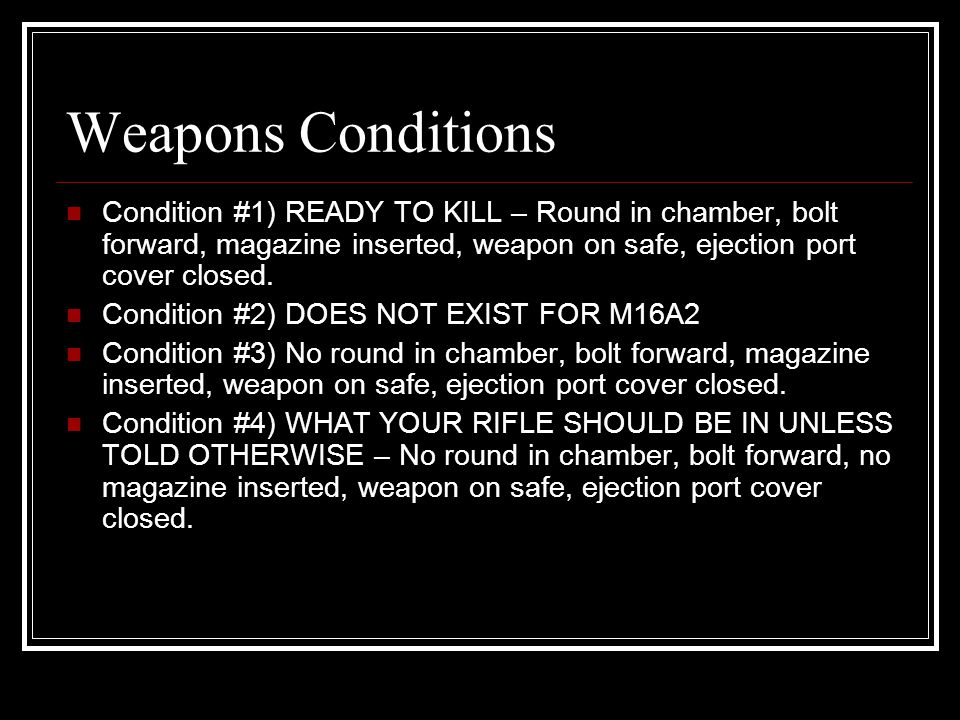 Changing Conditions From 4 to 3: Load Push pull, secure magazine pouch.