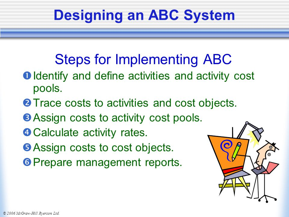 © 2006 McGraw-Hill Ryerson Ltd. Designing an ABC System Steps for Implementing ABC  Identify and define activities and activity cost pools.  Trace c