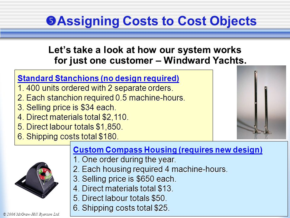 © 2006 McGraw-Hill Ryerson Ltd.   Assigning Costs to Cost Objects Let's take a look at how our system works for just one customer – Windward Yachts.