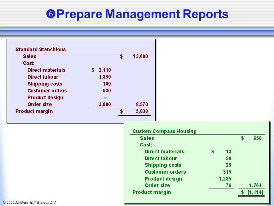 © 2006 McGraw-Hill Ryerson Ltd.   Prepare Management Reports