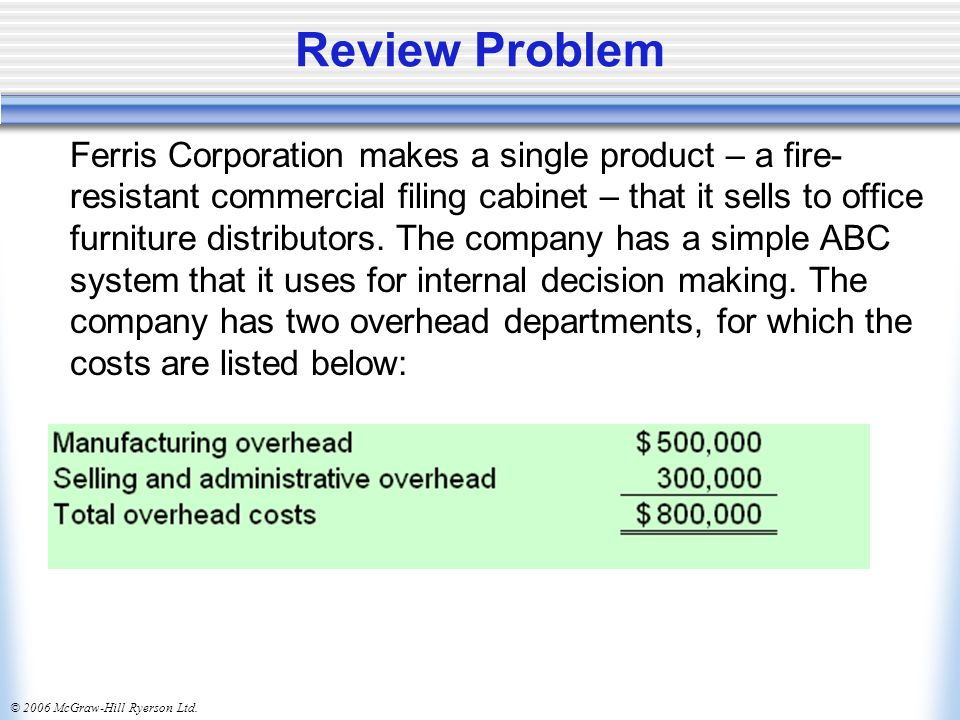 © 2006 McGraw-Hill Ryerson Ltd. Review Problem Ferris Corporation makes a single product – a fire- resistant commercial filing cabinet – that it sells