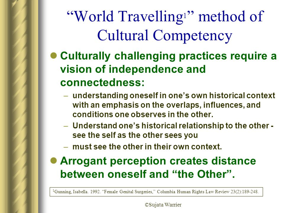 "©Sujata Warrier ""World Travelling 1 "" method of Cultural Competency Culturally challenging practices require a vision of independence and connectednes"