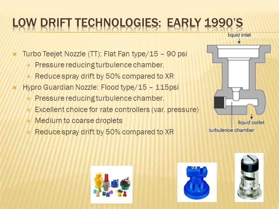  Turbo Teejet Nozzle (TT): Flat Fan type/15 – 90 psi  Pressure reducing turbulence chamber.