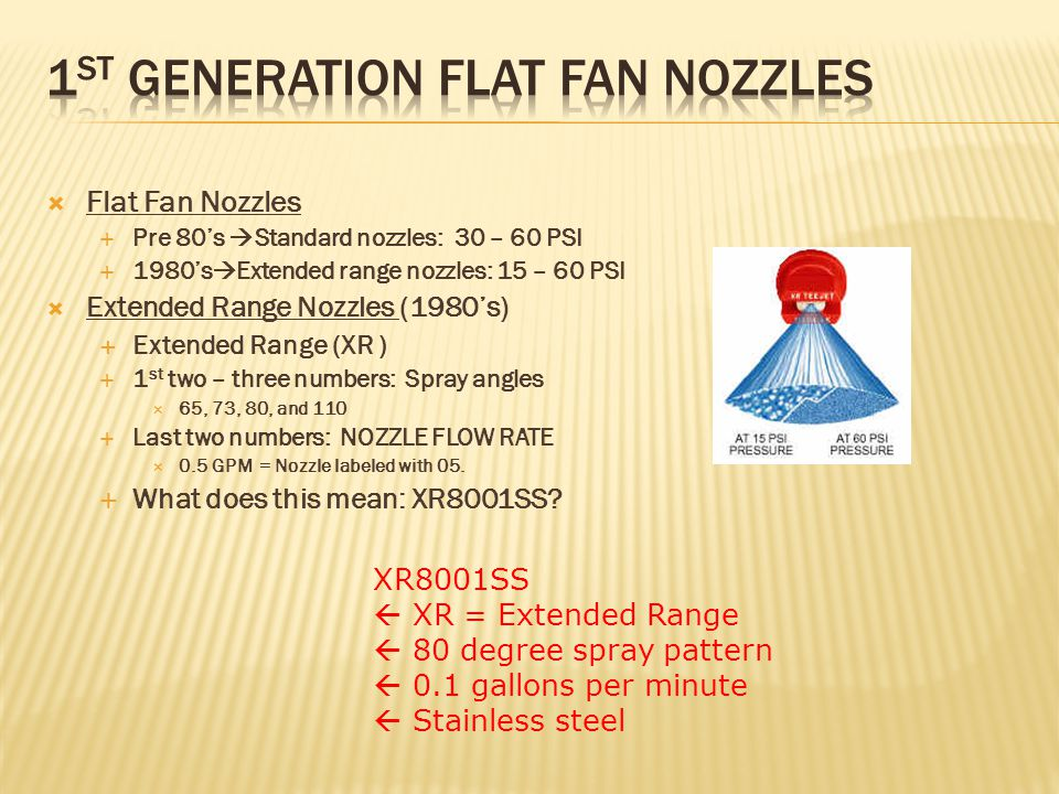  Flat Fan Nozzles  Pre 80's  Standard nozzles: 30 – 60 PSI  1980's  Extended range nozzles: 15 – 60 PSI  Extended Range Nozzles (1980's)  Extended Range (XR )  1 st two – three numbers: Spray angles  65, 73, 80, and 110  Last two numbers: NOZZLE FLOW RATE  0.5 GPM = Nozzle labeled with 05.