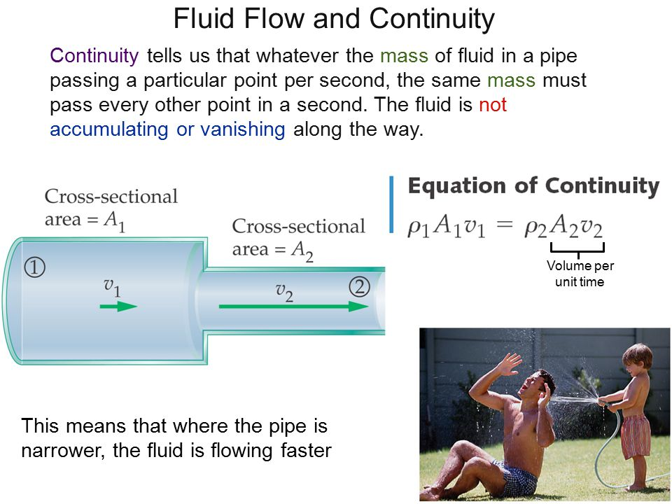 Fluid Flow and Continuity Continuity tells us that whatever the mass of fluid in a pipe passing a particular point per second, the same mass must pass every other point in a second.