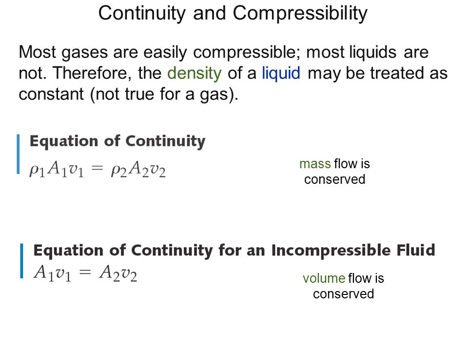 Continuity and Compressibility Most gases are easily compressible; most liquids are not. Therefore, the density of a liquid may be treated as constant