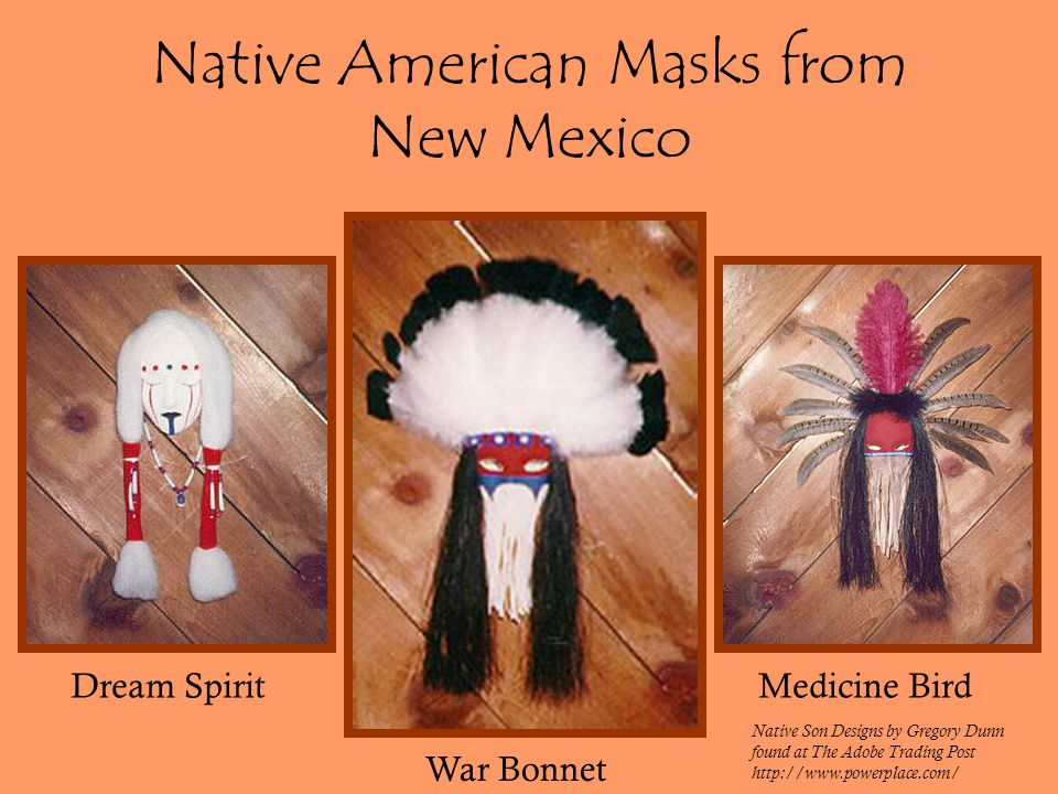 Native American Masks from New Mexico Dream Spirit War Bonnet Medicine Bird Native Son Designs by Gregory Dunn found at The Adobe Trading Post http://www.powerplace.com/