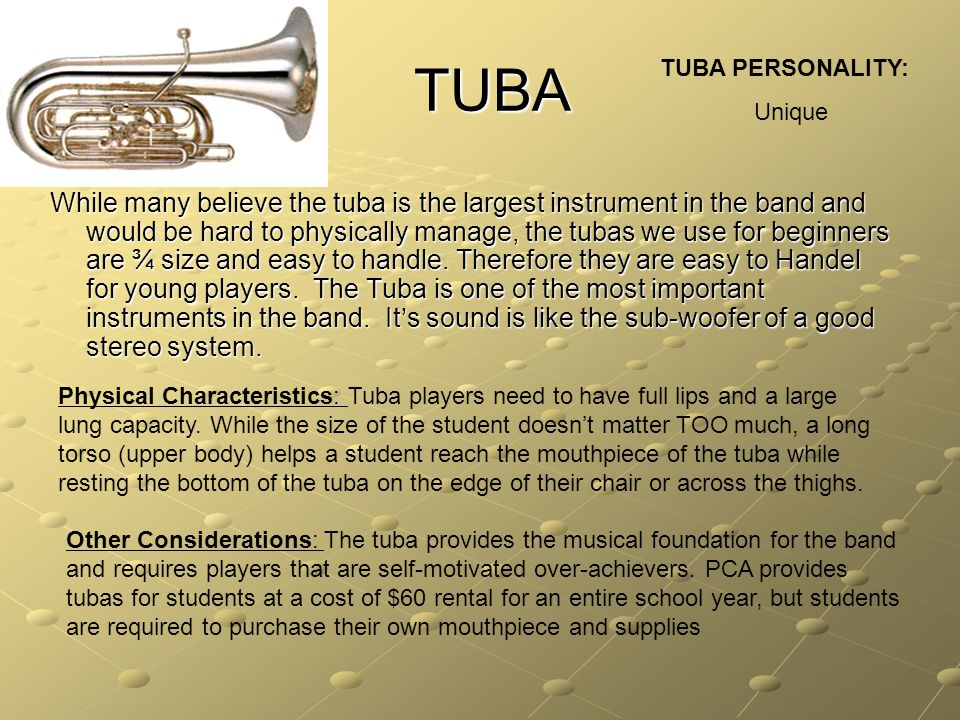 TUBA While many believe the tuba is the largest instrument in the band and would be hard to physically manage, the tubas we use for beginners are ¾ size and easy to handle.