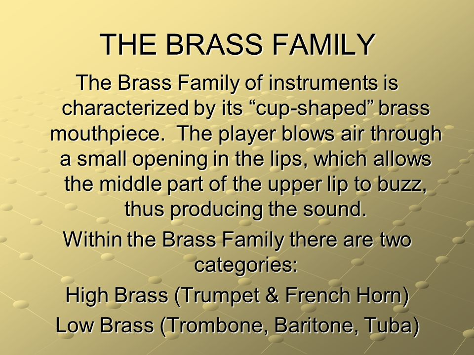 THE BRASS FAMILY The Brass Family of instruments is characterized by its cup-shaped brass mouthpiece.