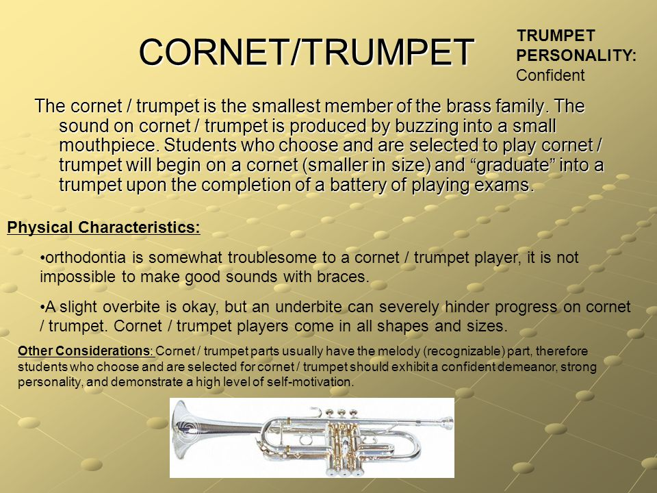 CORNET/TRUMPET The cornet / trumpet is the smallest member of the brass family.