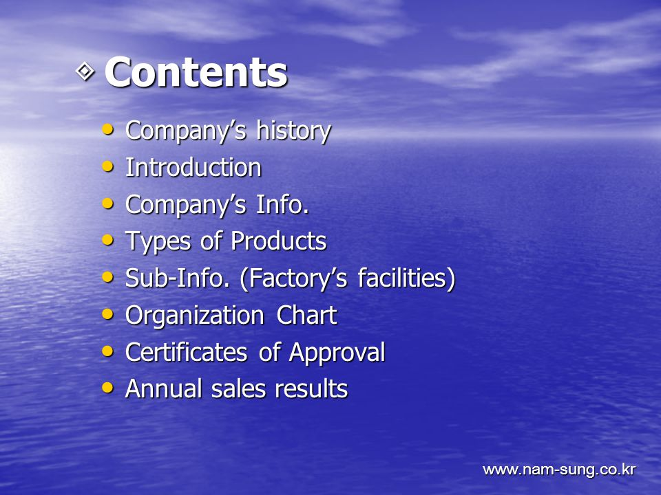 ◈ Contents ◈ Contents Company's history Company's history Introduction Introduction Company's Info.