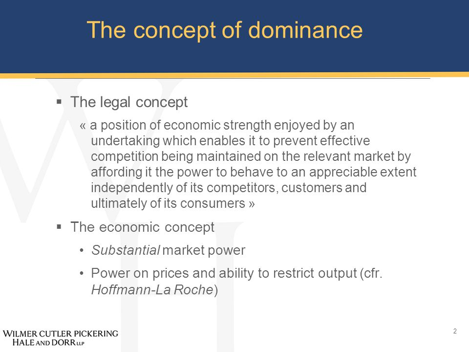 13 The concept of dominance  Conclusions « Special responsibility » so dominance analysis is important Beware of shortcuts!