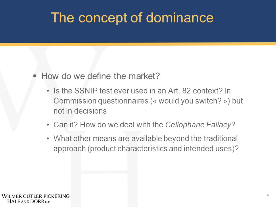 5 The concept of dominance  Factors of dominance: the role of market shares […] although the importance of the market shares may vary from one market to another the view may legitimately be taken that very large shares are in themselves, and save in exceptional circumstances, evidence of the existence of a dominant position.