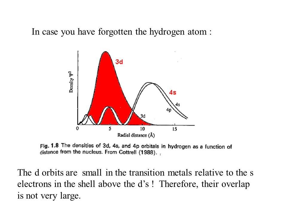 In case you have forgotten the hydrogen atom : The d orbits are small in the transition metals relative to the s electrons in the shell above the d's .