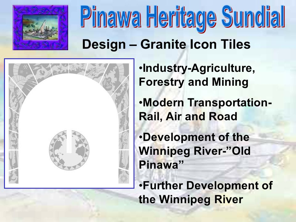 Design – Granite Icon Tiles Industry-Agriculture, Forestry and Mining Modern Transportation- Rail, Air and Road Development of the Winnipeg River- Old Pinawa Further Development of the Winnipeg River