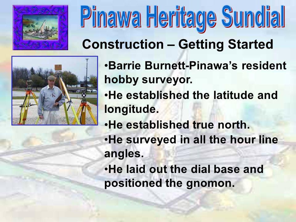 Construction – Getting Started Barrie Burnett-Pinawa's resident hobby surveyor. He established the latitude and longitude. He established true north.