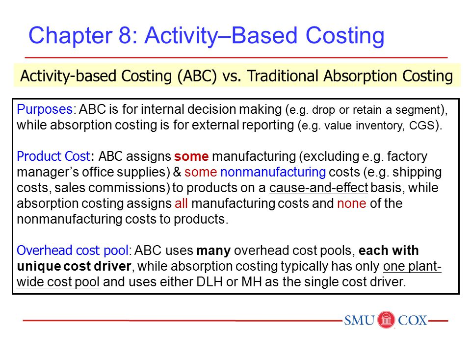 Chapter 8: Activity–Based Costing Purposes: ABC is for internal decision making ( e.g.