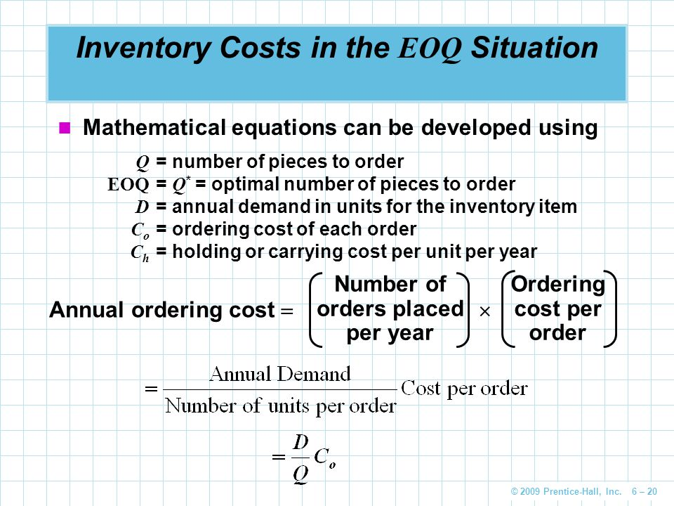 © 2009 Prentice-Hall, Inc. 6 – 20 Inventory Costs in the EOQ Situation Mathematical equations can be developed using Q = number of pieces to order EOQ