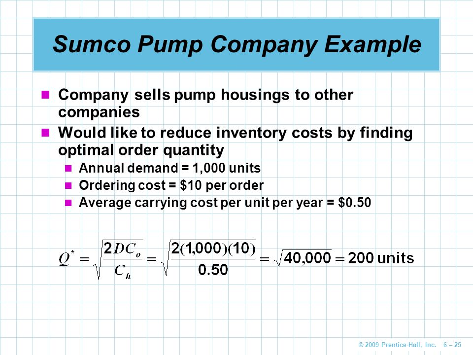 © 2009 Prentice-Hall, Inc. 6 – 25 Sumco Pump Company Example Company sells pump housings to other companies Would like to reduce inventory costs by fi