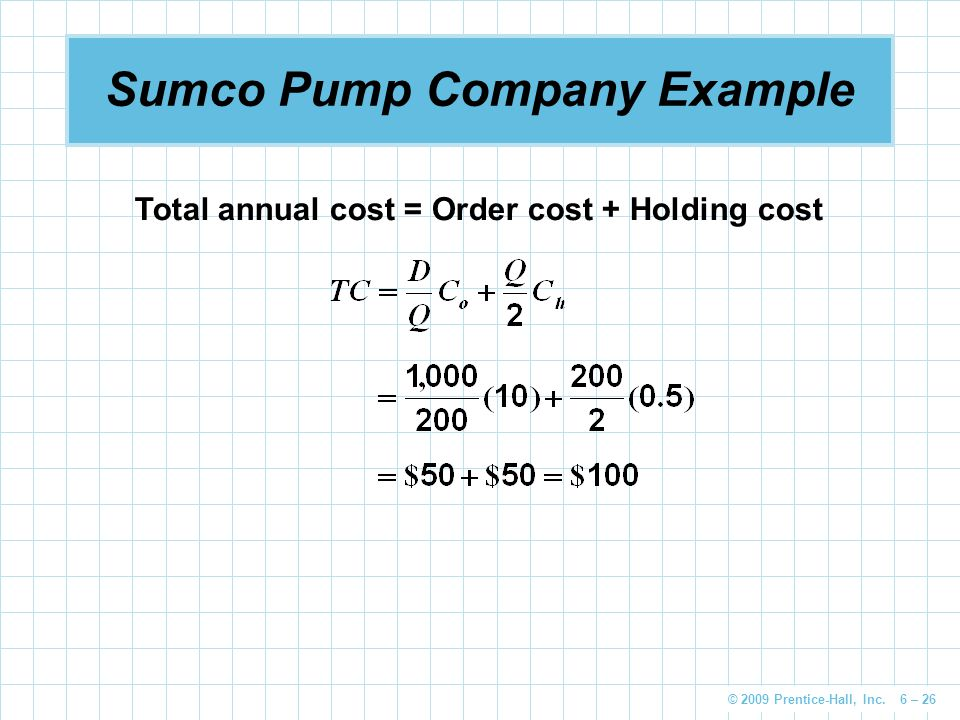 © 2009 Prentice-Hall, Inc. 6 – 26 Sumco Pump Company Example Total annual cost = Order cost + Holding cost