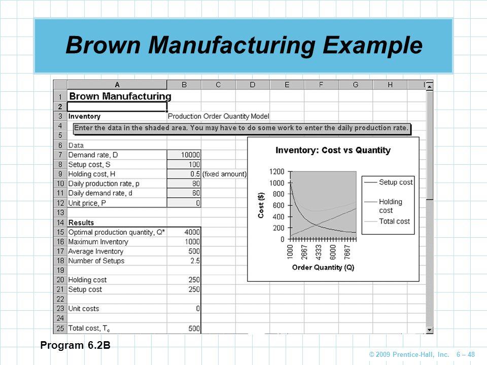 © 2009 Prentice-Hall, Inc. 6 – 48 Brown Manufacturing Example Program 6.2B