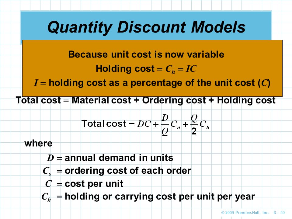 © 2009 Prentice-Hall, Inc. 6 – 50 Quantity Discount Models Quantity discounts are commonly available The basic EOQ model is adjusted by adding in the
