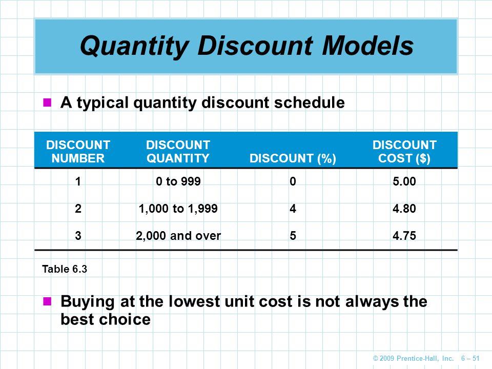 © 2009 Prentice-Hall, Inc. 6 – 51 Quantity Discount Models A typical quantity discount schedule DISCOUNT NUMBER DISCOUNT QUANTITYDISCOUNT (%) DISCOUNT
