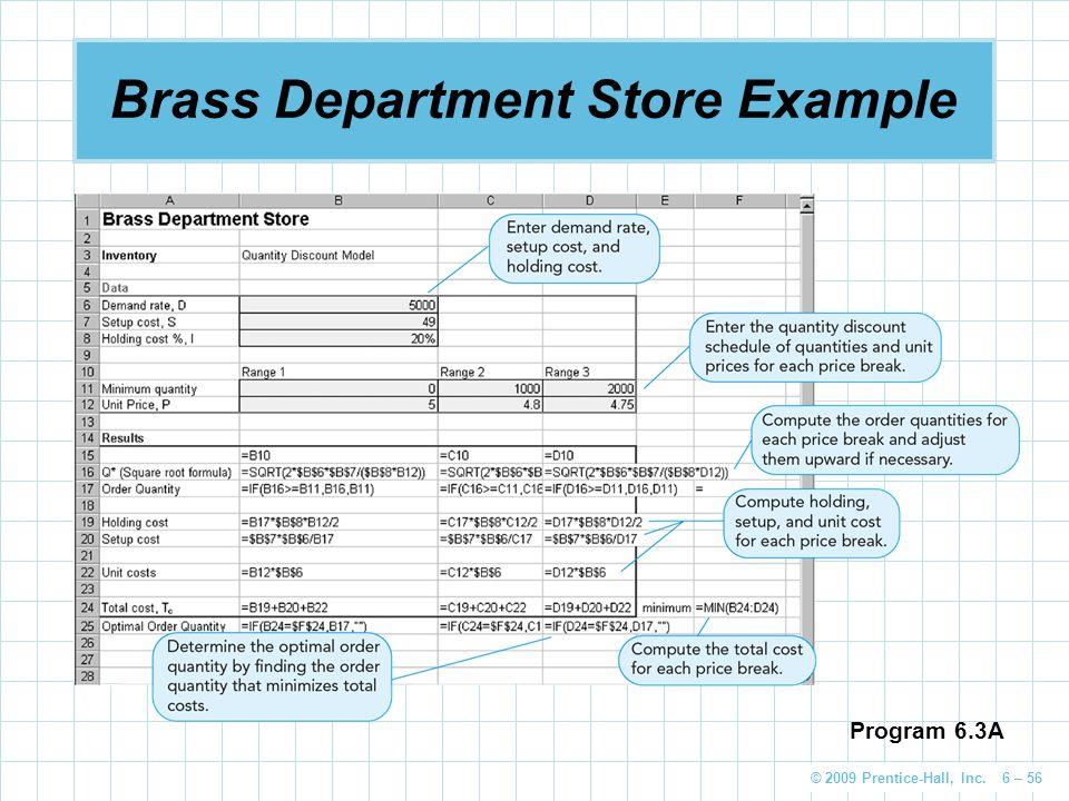 © 2009 Prentice-Hall, Inc. 6 – 56 Brass Department Store Example Program 6.3A