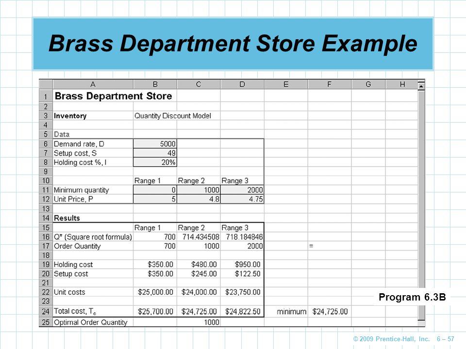 © 2009 Prentice-Hall, Inc. 6 – 57 Brass Department Store Example Program 6.3B