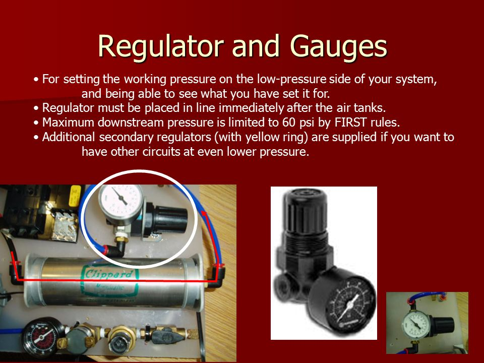Regulator and Gauges Back For setting the working pressure on the low-pressure side of your system, and being able to see what you have set it for.