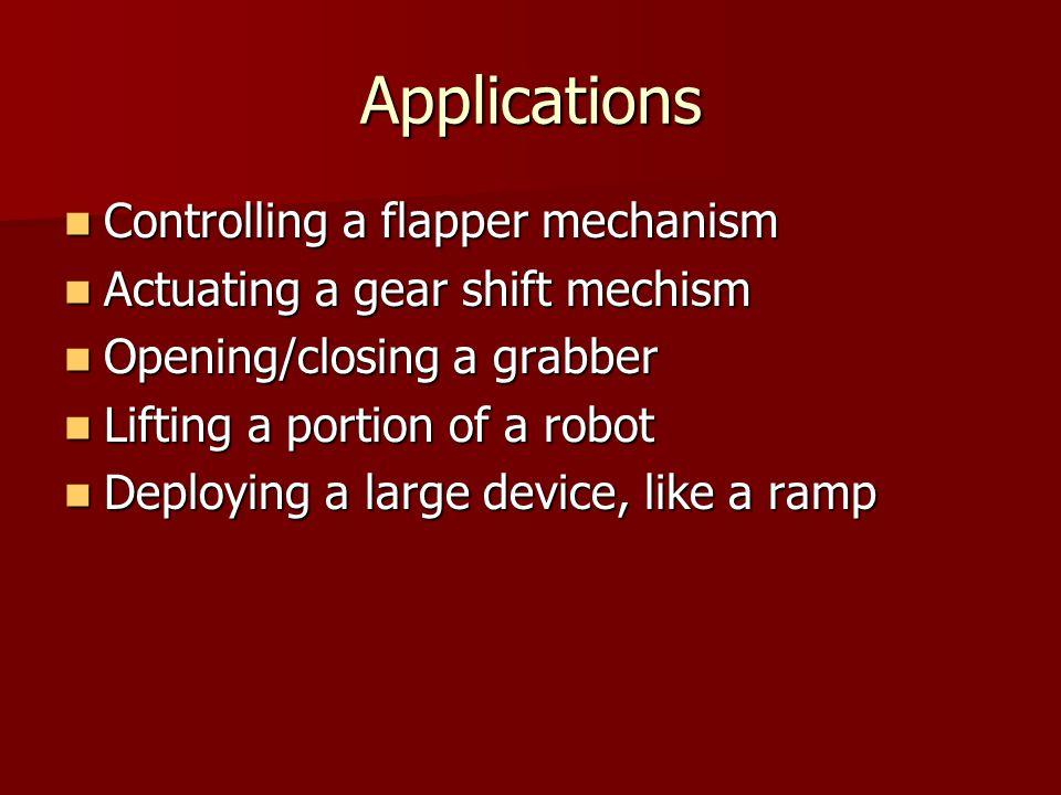 Applications Controlling a flapper mechanism Controlling a flapper mechanism Actuating a gear shift mechism Actuating a gear shift mechism Opening/clo