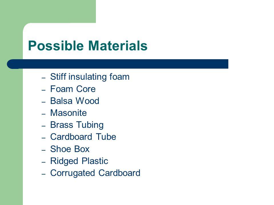 Possible Materials – Stiff insulating foam – Foam Core – Balsa Wood – Masonite – Brass Tubing – Cardboard Tube – Shoe Box – Ridged Plastic – Corrugated Cardboard