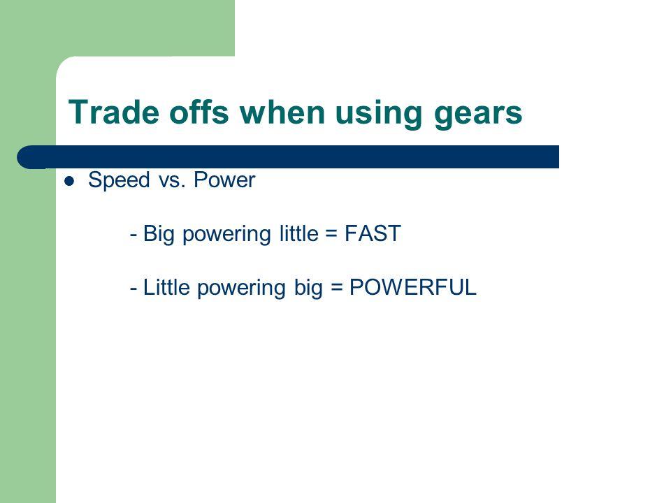 Trade offs when using gears Speed vs.