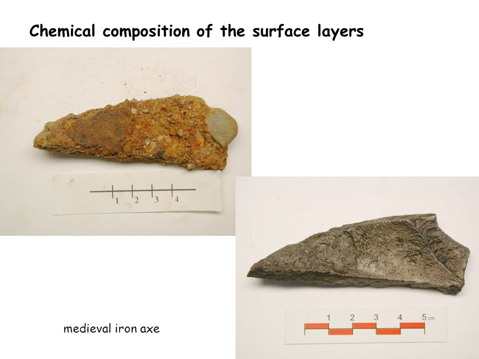 Chemical composition of the surface layers medieval iron axe