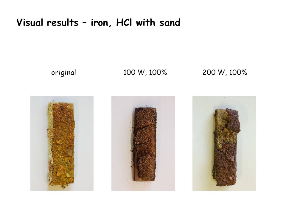 Visual results – iron, HCl with sand 100 W, 100%original200 W, 100%