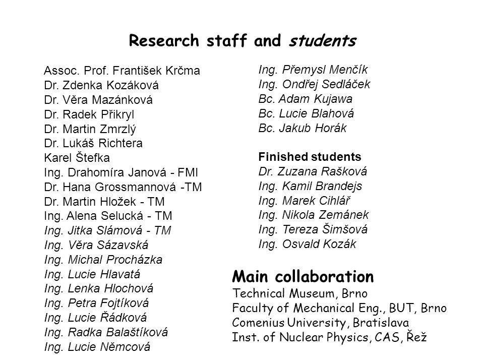 Research staff and students Assoc. Prof. František Krčma Dr.