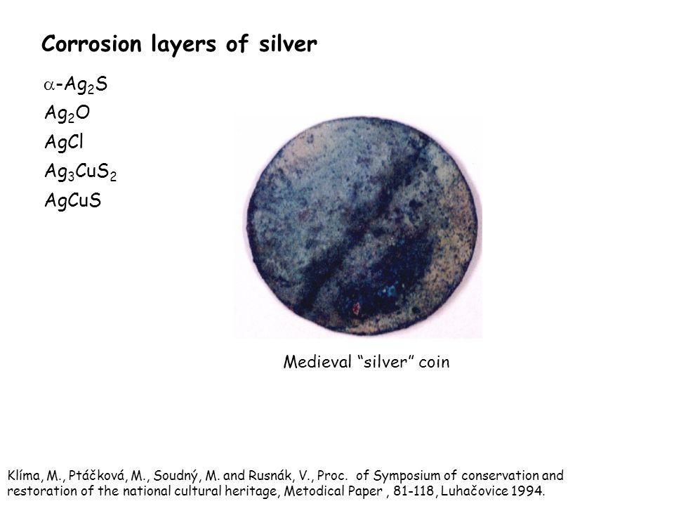 Corrosion layers of silver  -Ag 2 S Ag 2 O AgCl Ag 3 CuS 2 AgCuS Medieval silver coin Klíma, M., Ptáčková, M., Soudný, M.