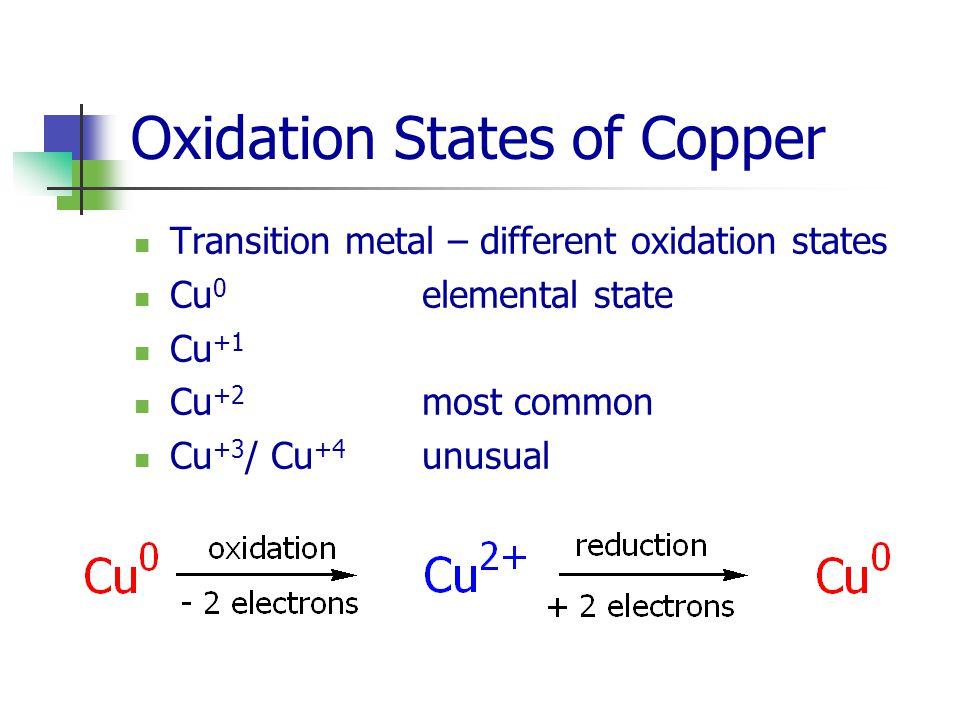 Oxidation States of Copper Transition metal – different oxidation states Cu 0 elemental state Cu +1 Cu +2 most common Cu +3 / Cu +4 unusual