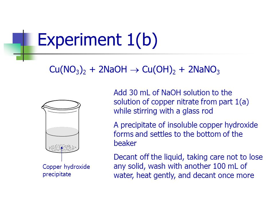 Experiment 1(b) Cu(NO 3 ) 2 + 2NaOH  Cu(OH) 2 + 2NaNO 3 Add 30 mL of NaOH solution to the solution of copper nitrate from part 1(a) while stirring with a glass rod A precipitate of insoluble copper hydroxide forms and settles to the bottom of the beaker Decant off the liquid, taking care not to lose any solid, wash with another 100 mL of water, heat gently, and decant once more Copper hydroxide precipitate