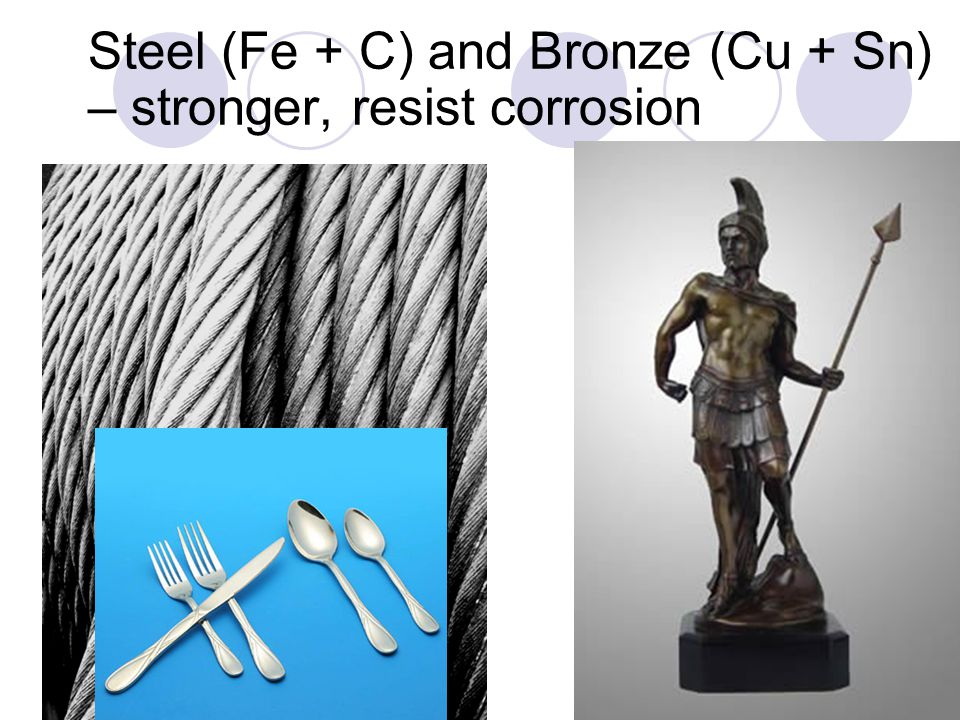 Steel (Fe + C) and Bronze (Cu + Sn) – stronger, resist corrosion