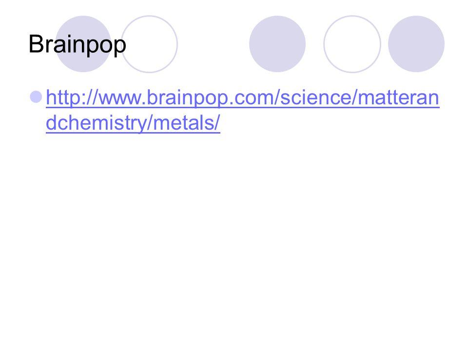Brainpop http://www.brainpop.com/science/matteran dchemistry/metals/ http://www.brainpop.com/science/matteran dchemistry/metals/