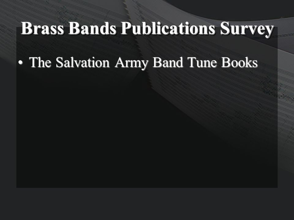 Brass Bands Publications Survey The Salvation Army Band Tune BooksThe Salvation Army Band Tune Books
