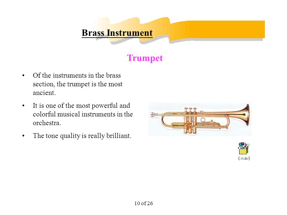 11 of 26 Brass Instrument It is a long conical tube coiled into a circular shape and ends in a large bell shape.