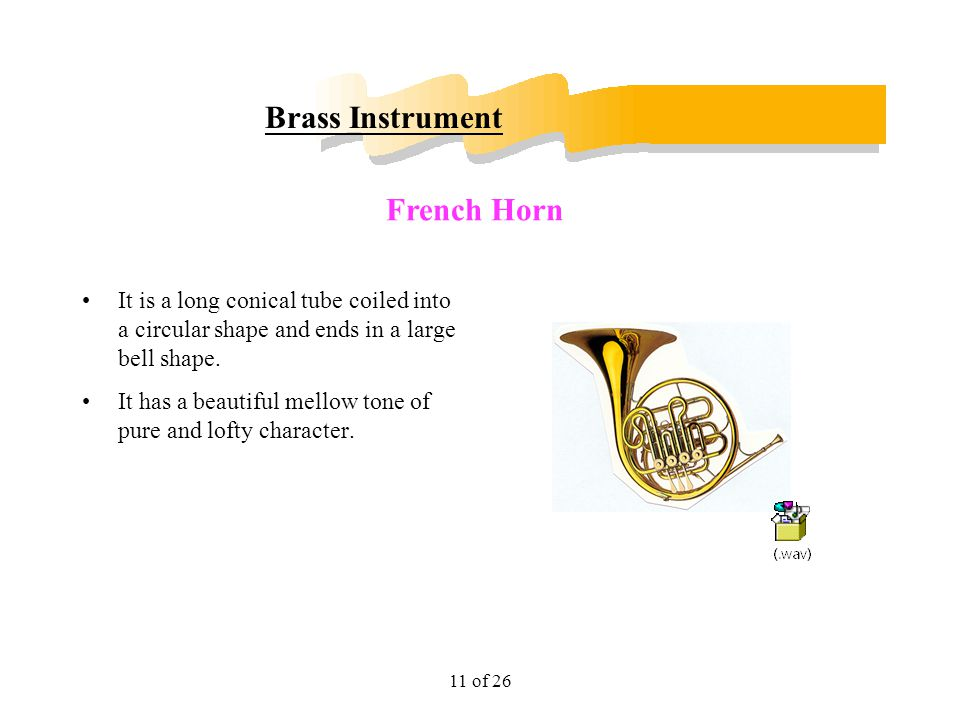 11 of 26 Brass Instrument It is a long conical tube coiled into a circular shape and ends in a large bell shape. It has a beautiful mellow tone of pur