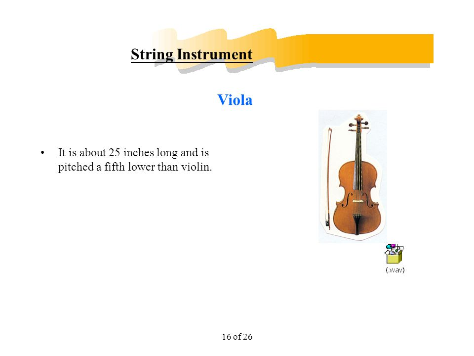 16 of 26 String Instrument It is about 25 inches long and is pitched a fifth lower than violin. Viola