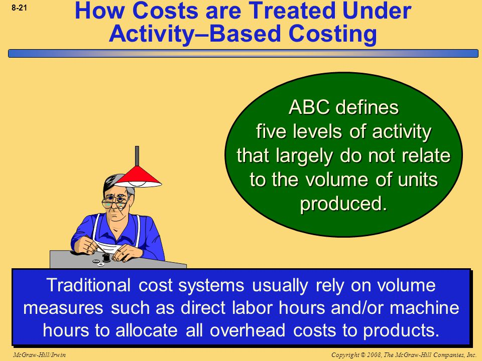 Copyright © 2008, The McGraw-Hill Companies, Inc.McGraw-Hill/Irwin 8-21 How Costs are Treated Under Activity–Based Costing Traditional cost systems usually rely on volume measures such as direct labor hours and/or machine hours to allocate all overhead costs to products.