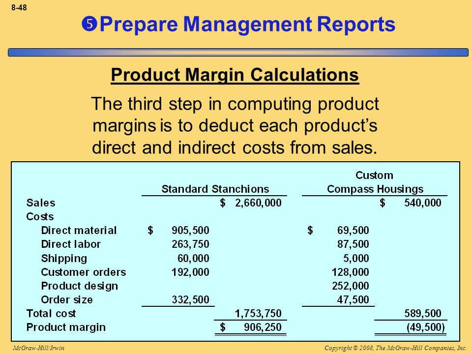Copyright © 2008, The McGraw-Hill Companies, Inc.McGraw-Hill/Irwin 8-48  Prepare Management Reports Product Margin Calculations The third step in computing product margins is to deduct each product's direct and indirect costs from sales.